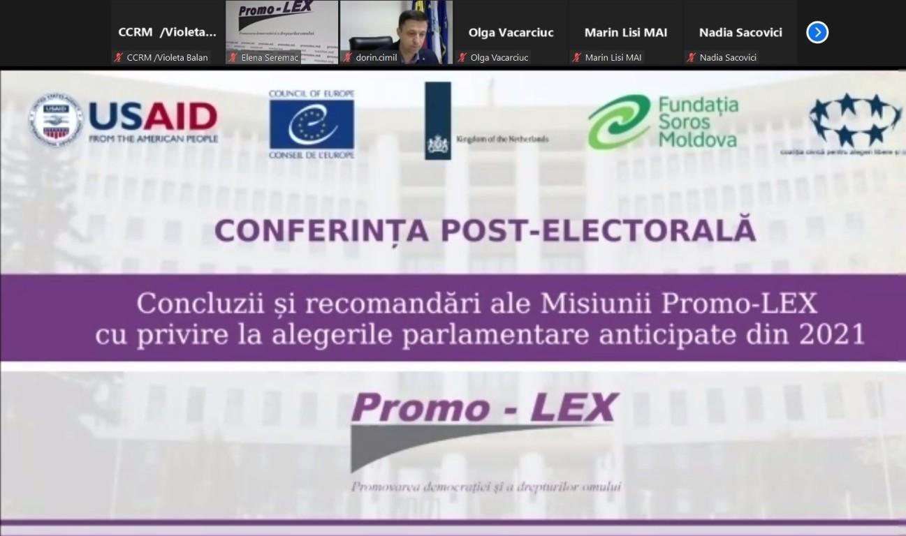 """Pe 15 septembrie, reprezentanții Curții de Conturi a Republicii Moldova (CCRM) au participat la  Conferința post-electorală """"Concluzii și recomandări ale Misiunii de Observare Promo-LEX cu privire la alegerile parlamentare anticipate din 11 iulie 2021"""", organizată în format de teleconferință."""